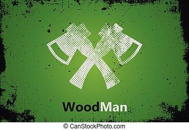 woodman, favágó, tengelyek, tervezés, jel, logo.