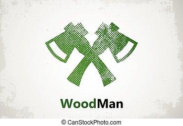 woodman, lumberjack, machados, desenho, logotipo, logo.