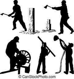 woodman, megkövez, kés, kőműves