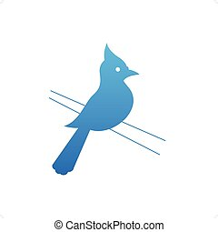 Woodpecker - Beautiful blue woodpecker bird silhouette...