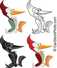 Woodpecker cartoon style, four different arrangements