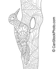Woodpecker coloring vector for adults - Zentangle stylized...