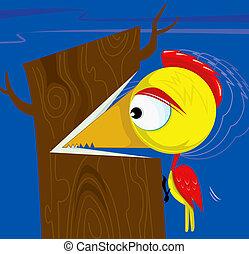 Woodpecker - Illustration of woodpecker cutting the tree