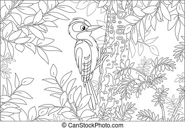Funny woodland bird drumming a trunk to find insects for dinner in a summer forest, black and white vector cartoon illustration for a coloring book page