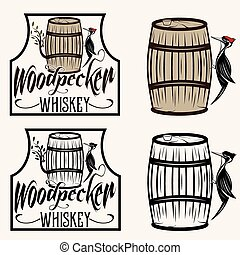woodpecker sitting on the barrel whiskey labels set