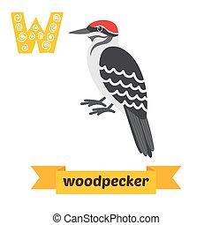 Woodpecker. W letter. Cute children animal alphabet in vector. Funny cartoon animals