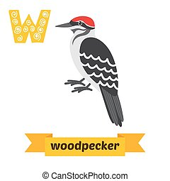 Woodpecker. W letter. Cute children animal alphabet in vector. Funny cartoon animals