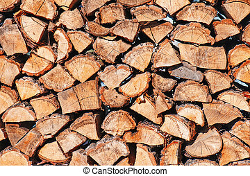 woodpile from dry oak logs