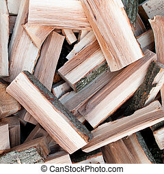 Woodpile - Scattered logs of oak tree for making a fire