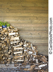 Woodpile, stack of wood