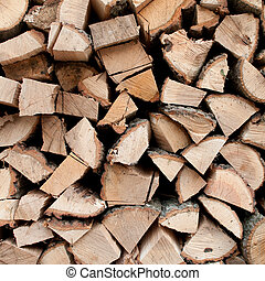 Woodpile - Stacked logs of oak tree for making a fire