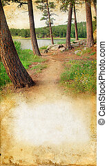 Wooded path by the lake on a grunge background with copy-space for your text.