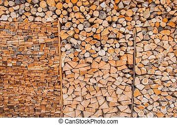 Woodshed Full of Wood Logs