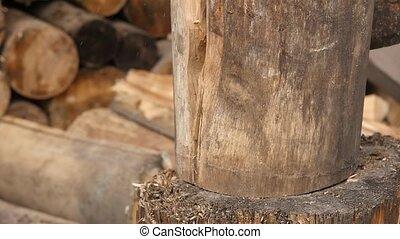 woodsheds and chopping firewood, lumberjack splitting wood...