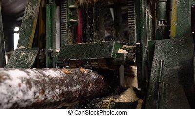 Woodshop. View of timber machining at sawmill, close-up