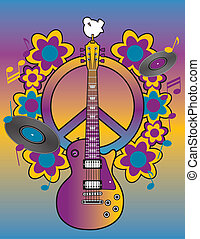 An illustration of a guitar, peace symbol and dove dedicated to the Woodstock Music and Art Fair of 1969.