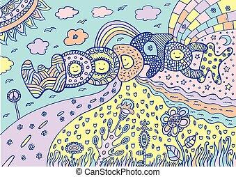 woodstock, typon, paysage., été, pastel, mot, coloré