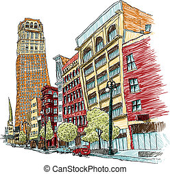 Illustration of buildings on Woodward Avenue in downtown Detroit, Michigan, USA.