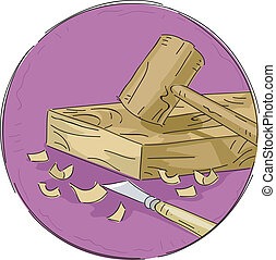 Woodwork Icon - Icon Illustration Featuring Woodworking...