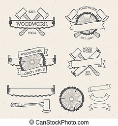 Woodwork label set with saw, ax and tree ring. Posters,...