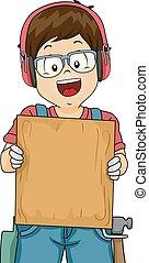 woodwork, menino, tábua, ilustração, criança