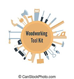 Woodwork tool kit. Set of hand carpentry equipment in flat style. Vector illustration isolated on white