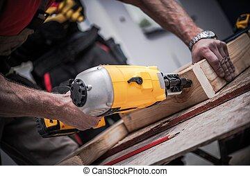 woodwork, usando, injetor prego