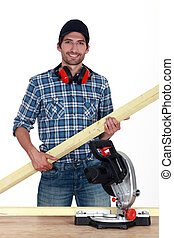 Woodworker with bright smile