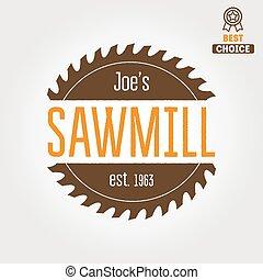 woodworkers, etiqueta, aserradero, insignia, logotipo, ...