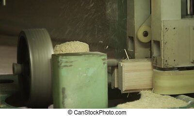 Woodworking conveyor in the factory - Woodworking conveyor...