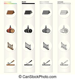 Woodworking, enterprise, ecology and other web icon in cartoon style.Board, tools, locksmith, icons in set collection.