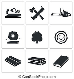 woodworking Icons set - woodworking icon collection on a...