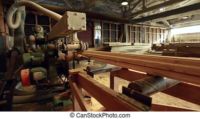Woodworking machine for pulling profiled timber - View of...