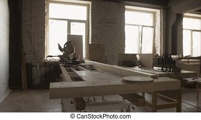 Woodworking table, cutting apparatus, wooden boards. Manufacturing furniture