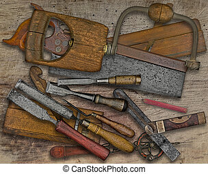 woodworking tools over bench