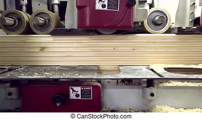 Woodworking. View on production of shaped timber, close-up