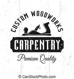 woodworks, vecteur, charpenterie, service, emblème, coutume