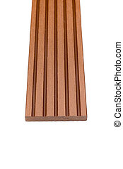 Woody composite skirting material on white
