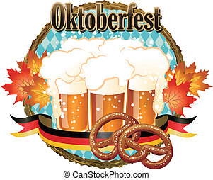 Woody frame Oktoberfest Celebration design with beer and pretzel.File contains Gradients, Clipping mask, Transparency.