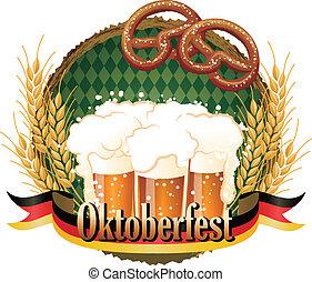 woody, quadro, oktoberfest, celebração, desenho, com, cerveja, e, pretzel.file, contém, gradients, cortando, máscara, transparency.