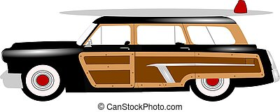woody station wagon with surfboard on top popular in fifties...