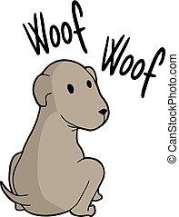 woof, messaggio, cane
