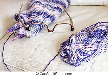 wool and needles for knitting
