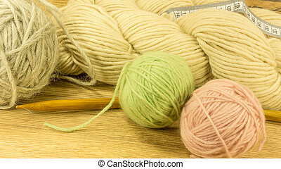 Wool ball with knitting needles