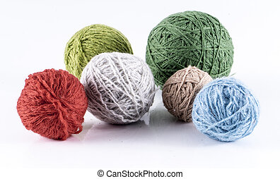Wool balls - image of skein of wool yarn isolated close up.