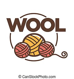 Wool clew icon for knitting handicraft or clothing label tag...
