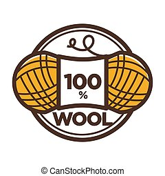 Wool clew vector label 100 percent natural