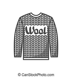Wool emblem with knitted sweater. Label for hand made, knitting or tailor shop