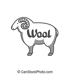 Wool emblem with merino sheep. Label for hand made, knitting or tailor shop