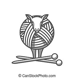 Wool emblem with sheep, tangle of yarn and knitting needles. Label for hand made, knitting or tailor shop